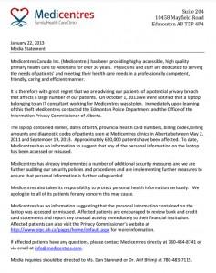 alberta medicenters data breach stolen laptop